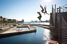 Children leaping into the harbour bath at Islands Brygge - Sharing Copenhagen 2014 #sharingcph