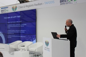 Gary Topp, BGCP Development Director, on the platform in the Cities & Regions Pavilian, Paris