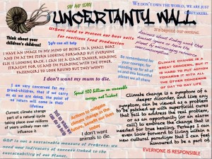 Uncertainty Wall - www.bris.ac.uk/cabot/uncertain-world/