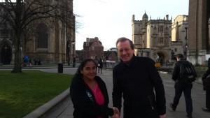 Mayor George Ferguson greets Ana Maria Gonzalez outside City Hall today