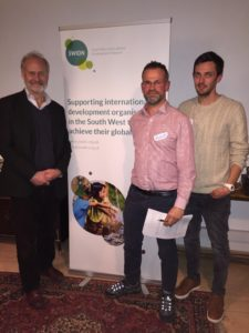 BGCP's CEO Ian Townsend and fellow speaker international development expert Myles Wickstead with SWIDN coordinator Jason Williams at a November 2016 networking event.