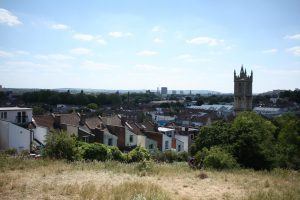 view of Bristol with grass and houses